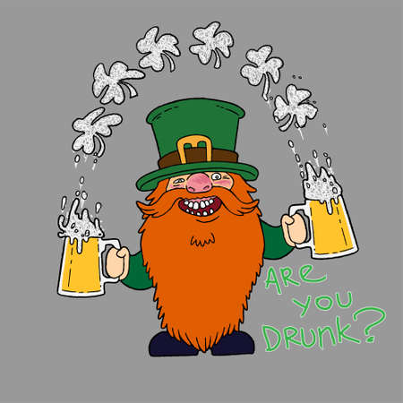 St. Patrick s Day Irish Leprechaunt character with hat, beard, mustache, clover and beer. Cartoon funny gnome in vector. Separation background. For cards, decor, shirt design, invitation to the pub.
