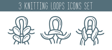 Knitting and needlework icon set isolated illustration in line style. Yarn and knitting needle loops symbols. Outline knitting loops sign collection on white background. Illustration