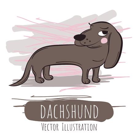 Ironic brown dachshund