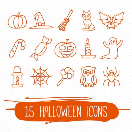 Set of fifteen halloween icons. Linear vector set.
