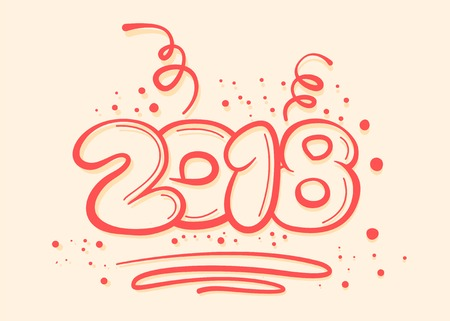 Postacard concept with new year digits on light yellow background. Vector illustration.
