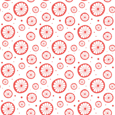 Abstract natural seamless color pattern with citrus in section. Vector illustration.