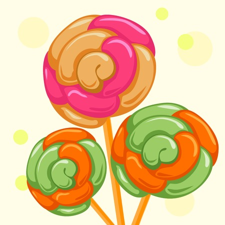 Candy and caramel sweets on sticks. Vector illustration. Illustration