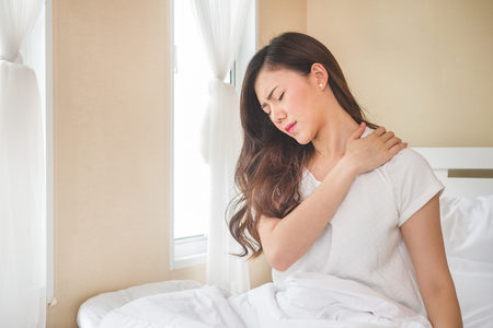 Asian woman pain at neck, feel ache, Inflammation, woman muscle pain concept
