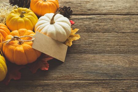 Thanksgiving background, pumpkin with tag, leaves and decoration on wood table background with copy space. flatlay
