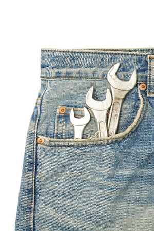 Blues jeans pocket with wrench photo