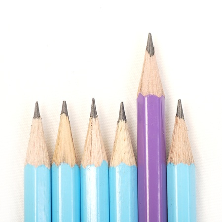 Blues pencils and one purple standing out Stock Photo - 16964888