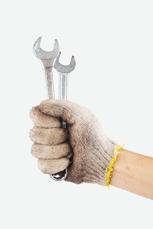 Wrench in hand workers on white background