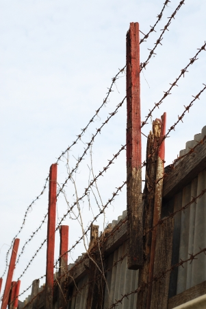 bearded wires: high wire fence Stock Photo