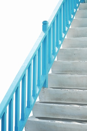 blues stairway with blue handle bar photo