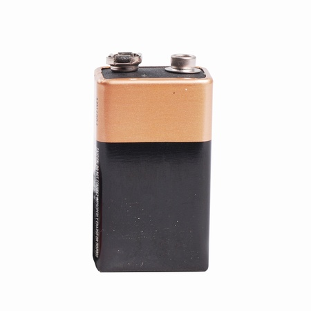 Square battery on isolate white background photo