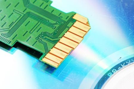 Damage SD card on isolate white background photo