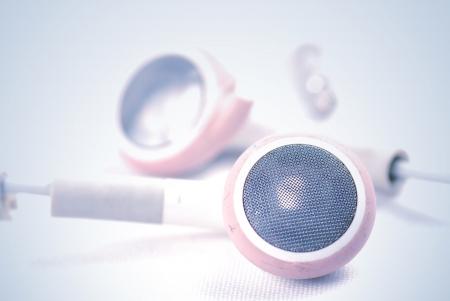 headset voice: white earphones Stock Photo