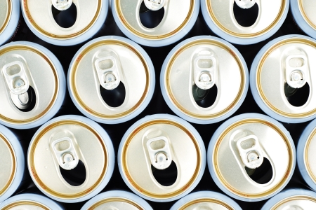 unopen: row of opened beer cans, top view Stock Photo