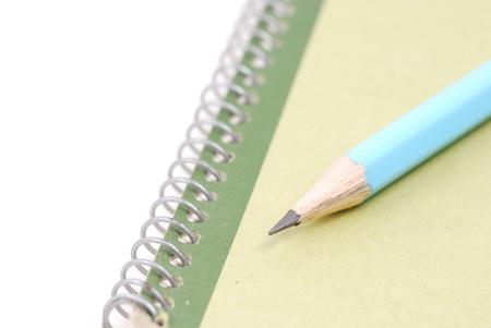 Pencil on green skecth book photo