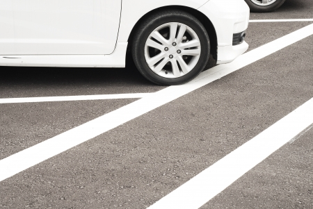 car at parking area with white lines Stock Photo