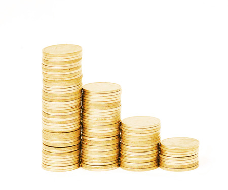 Four rows of stack coins photo