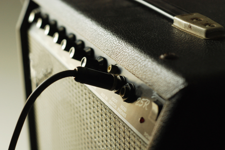 guitar amplifier with cable audio jack Stock Photo
