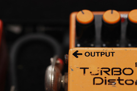 Distortion Pedal Guitar effect, output side Stok Fotoğraf