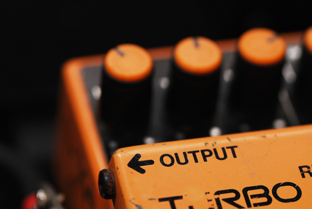 Distortion Pedal Guitar effect, output side Stock Photo