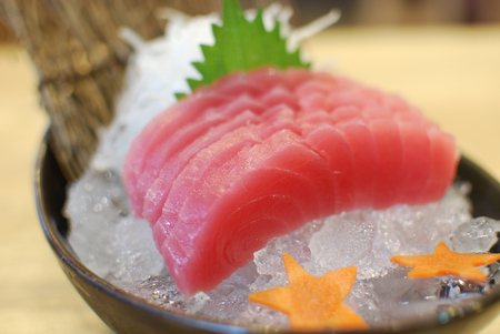 Fresh of red raw tuna (Maguro Sashimi) and wasabi, Japanese Food