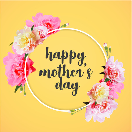 Happy Mothers Day greeting card with beautiful carnation flowers Stock Illustratie