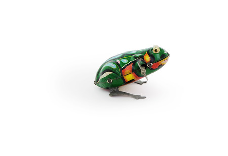Metal Classic Vintage frog in a white background - Image