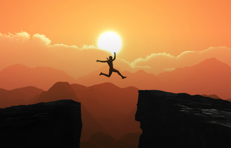 Silhouette a businessman jumps over the ravine. Challenge, obstacle, optimism, determination in business concept - Photo Standard-Bild