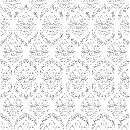 Vector seamless pattern and Thai pattern style. - Vector Stockfoto - 122424991