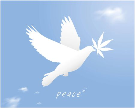 International day of peace. Concept illustration with Peace dove with cannabis leaves. Vector blue sky background. - Vector