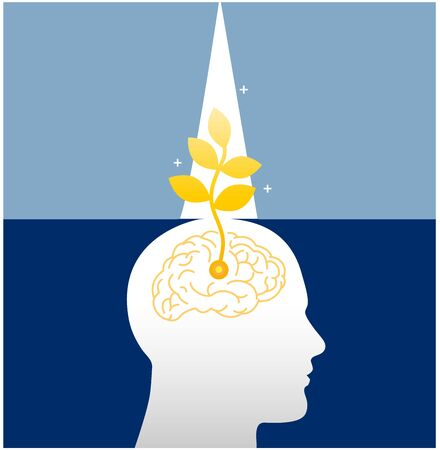 Growth mindset skills icon growing plant from the brain. soft skills. the power of positive thinking.- Vector Illustration