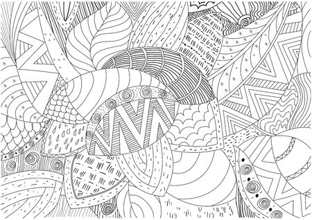 Vector hand drawn outline abstract ornamental ethnic stripe background - Vector