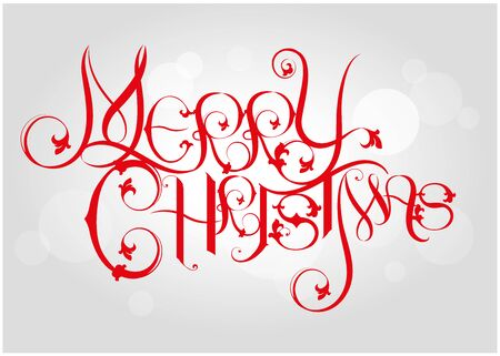 Merry Christmas vector text Calligraphic Lettering design card template. Creative typography for Holiday Greeting Gift Poster. Calligraphy Font style Banner. - Vector