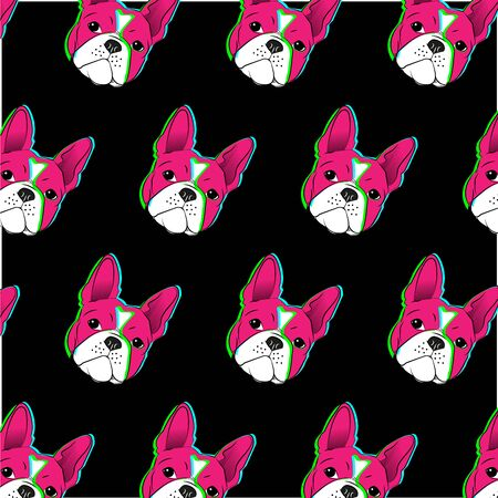 Boston terrier Colorful hand drawn.-vector