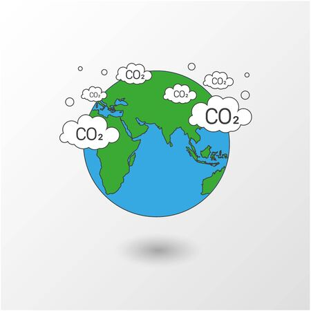 Modern flat thin line design vector illustration, concept of carbon problem and green energy vector 向量圖像