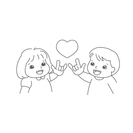little boy and girl show their hand, the sign hand language I love you. Deaf English basic words in cartoon art isolated on white background. vector
