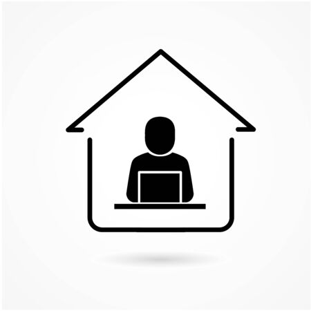 Work at home. Professional working on computer at home. Working Icon vector. Иллюстрация