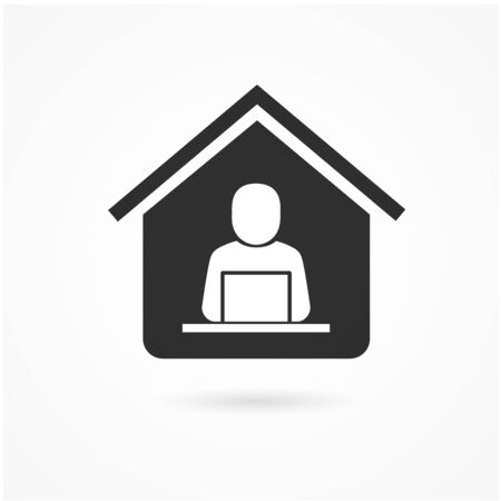 Work at home. Professional working on computer at home. social distancing concept vector.