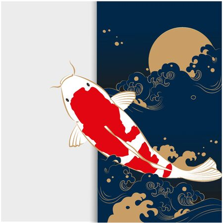 Card design with Koi carp on the waves.