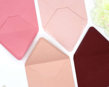 pink tone envelopes with blank paper