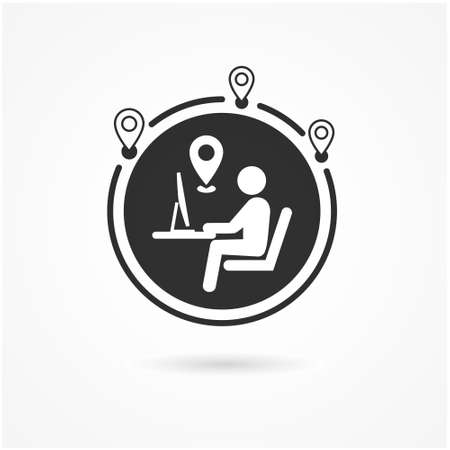 Work from anywhere icon. Man with laptop and globe behind. Concept of remote working and lifestyle digital anywhere.-Vector