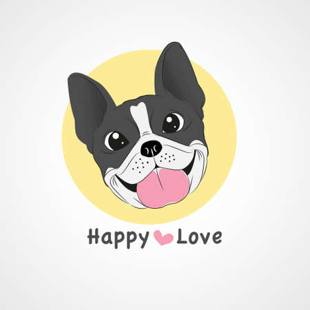 Boston terrier thiking heart hand drawn on white background iillustration.- vector