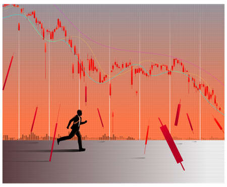 Silhouette of a businessman running under trading graph. Businessman Survived the fall of prices. trader concept. Illustration