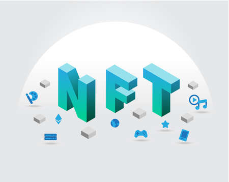 Concept of NFT (non fungible token) vector.