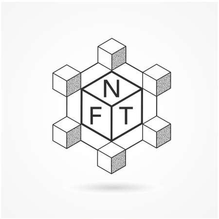 NFT Blockchain Line Icon. Concept of NFT (non fungible token) vector.