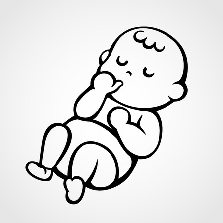 vector illustration of a sleeping baby sucking his / her thumb 矢量图像