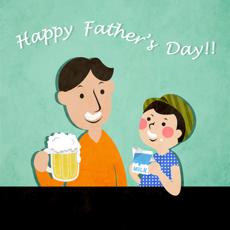 Father and son drink beer and milk to celebrate Father's Day