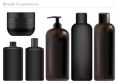 hair wash: Blank Black Containers Illustration