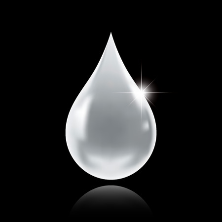 White droplet in a black background.