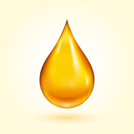 essential oil: Golden Oil Drop Illustration